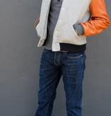 Dehen Varsity Jacket in Heather Grey and Whiskey