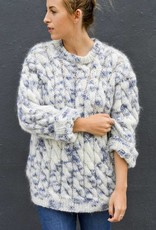 Blue & White Mock Neck Hand Knit Sweater