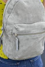 Baggu Leather Backpack in Grey Suede