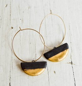 Jessica Wertz Ceramics Black Half Luna Earrings