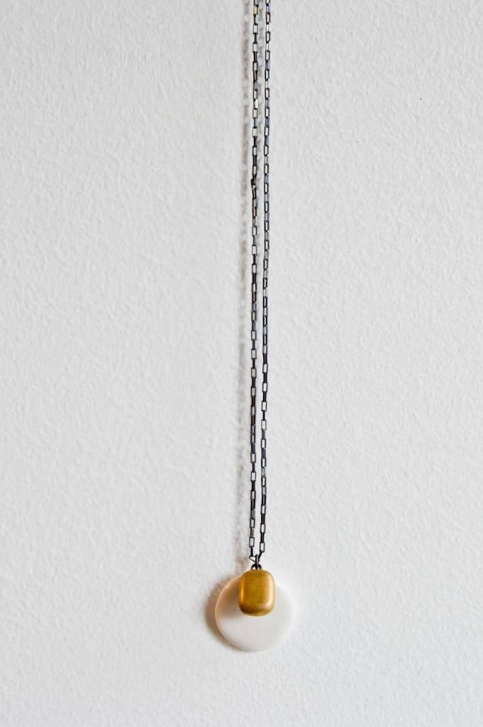 Jessica Wertz Ceramics Square Gold & Circle Necklace