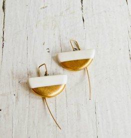Jessica Wertz Ceramics White Half Luna Earrings