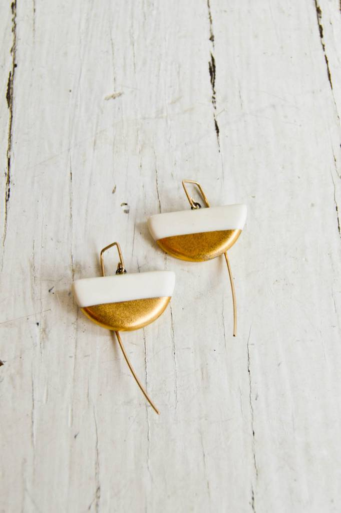 Jessica Wertz Ceramics White Half Luna Earrings