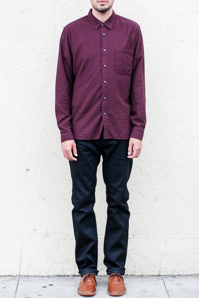 Kato Slim French Seam Shirt in Brushed Bordeaux