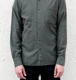 Kato Slim French Seam Shirt in Brushed Military Green