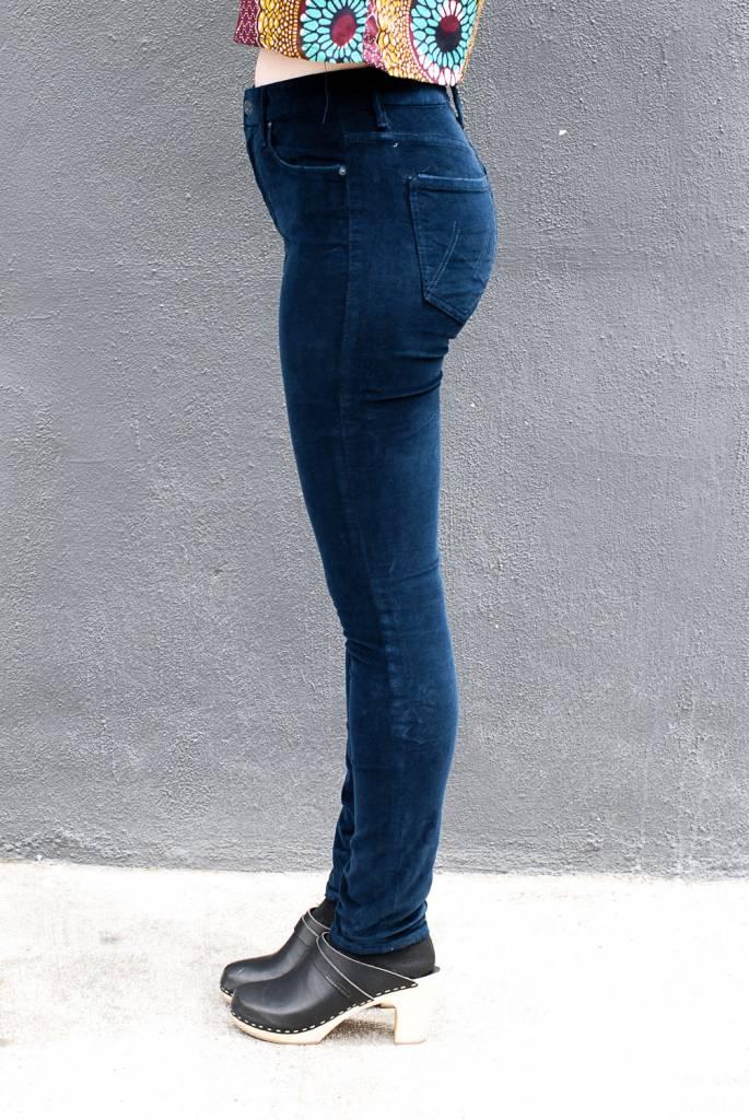 Mother Denim High Waisted Looker Cords in Hopscotch Deep Blue