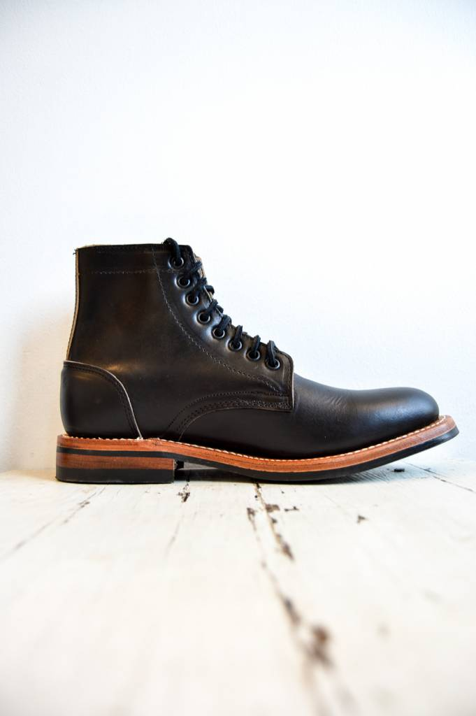 Oak Street Bootmakers Trench Boot with Dainite Sole in Black