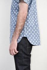 Kato French Seam Short Sleeve Shirt in Flower Dot Chambray