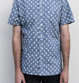 Kato French Seam Short Sleeve Shirt in Flower Dot Chambray