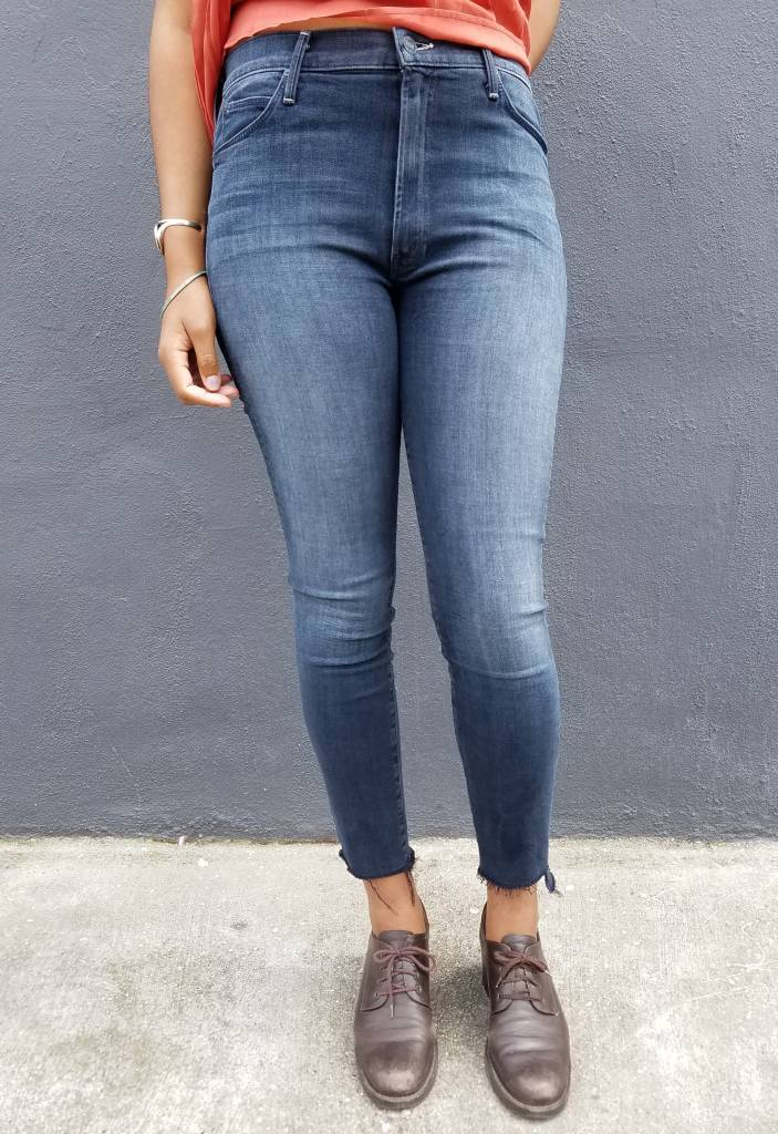 Mother Denim The Stunner Zip Ankle Fray Jeans in All I Want