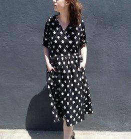 Jamie Lau Designs Black and White Dotted Ikat Wrap Dress or Coat