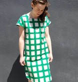 Jamie Lau Designs Verdant Ikat Windowpane Kimono Sleeve Dress