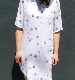 Paint Drop Curved Hem T Shirt Dress