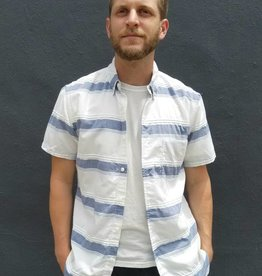 Kato Textured Big Stripe Short Sleeve Button Up