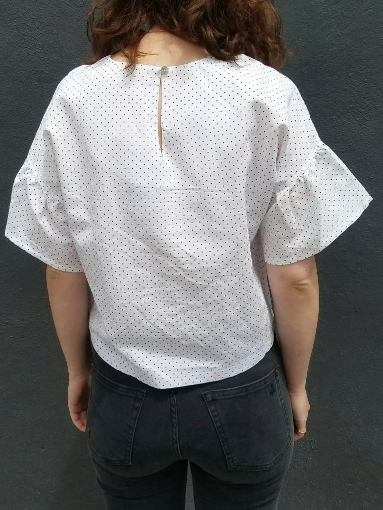 mo:vint Drop Shoulder Ruffled Sleeve Top
