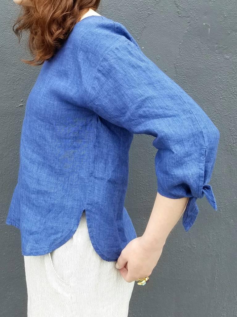 Tie Sleeve Linen Top