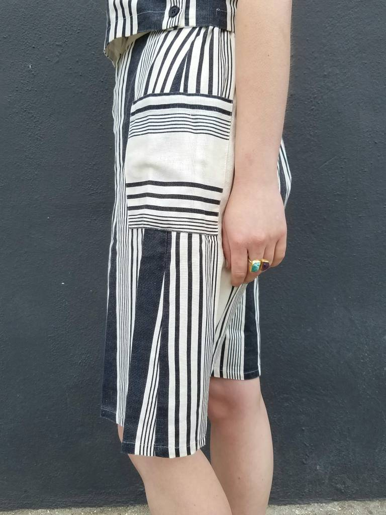 mo:vint Striped Button Front Skirt