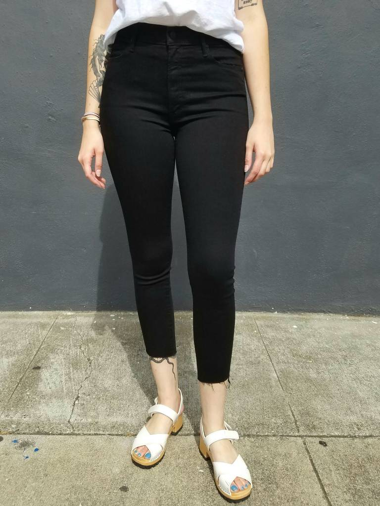Mother Denim Stunner Zip Ankle Step Fray in Not Guilty