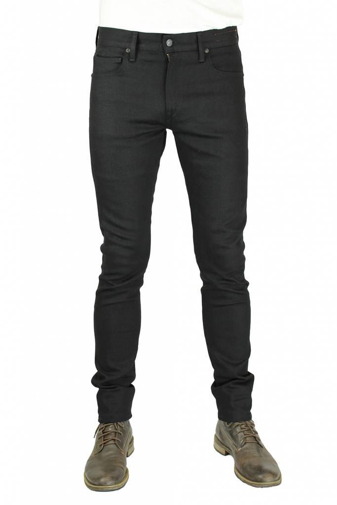 Kato Needle Four Way Stretch 10 oz. Raw Black Skinny Jeans
