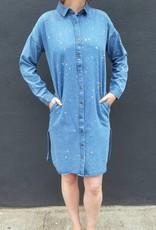 Bleached Denim Shirt Dress