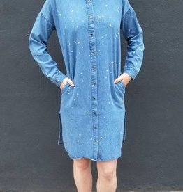 Bleached Denim Shirt Dress