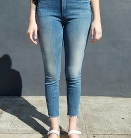 Mother Denim Stunner Zip Ankle Step Fray Jeans in Good Girls Do