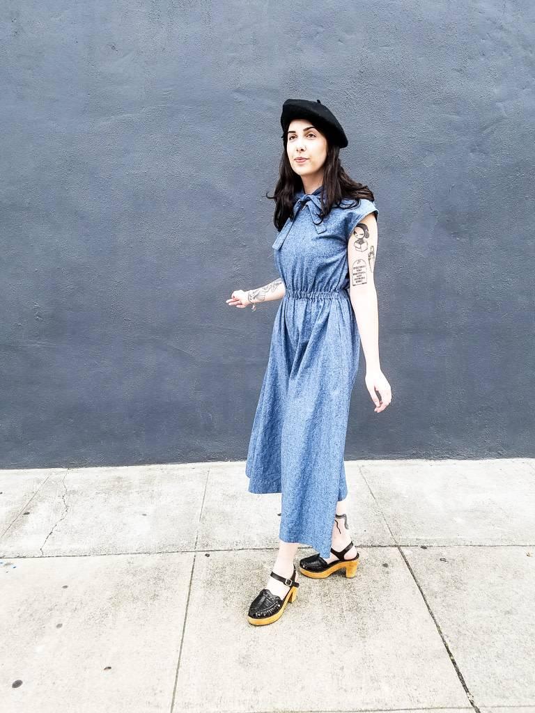 Jamie Lau Designs Blue Cotton Linen Palazzo Pant Jumpsuit