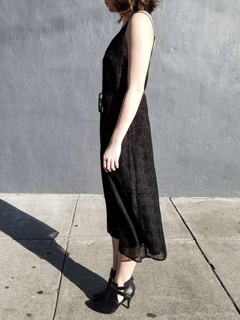 Burnout Velvet Belted Slip Dress