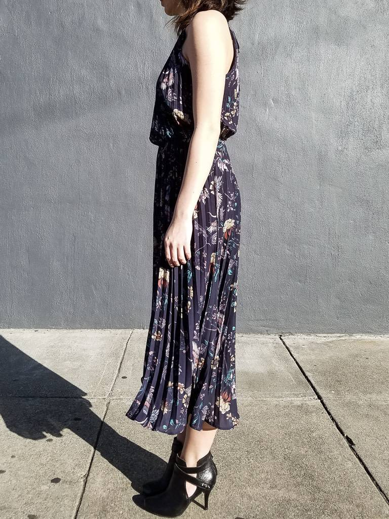 Chinoiserie Floral Printed Chiffon Dress