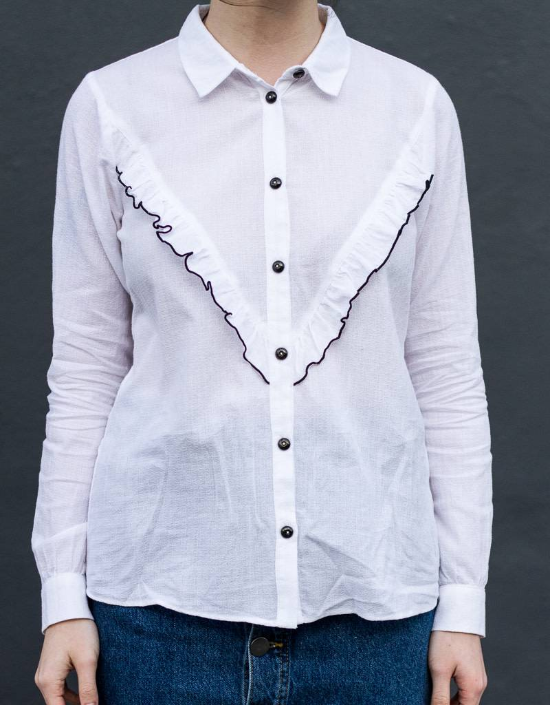 White Ruffle Buttonup Shirt