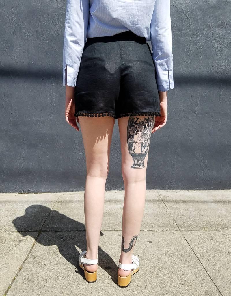 Fortuna Fancy Linen Pom Pom Shorts