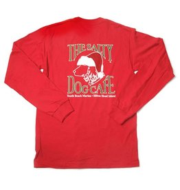 T-Shirt Red Santa Dog Adult Long Sleeve Tee
