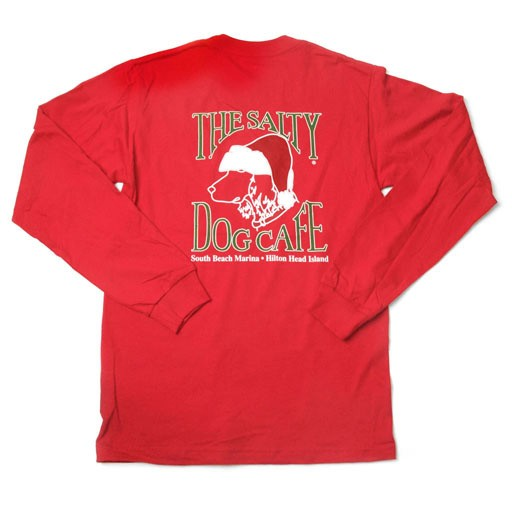 Hanes Red Santa Dog Adult Long Sleeve Tee