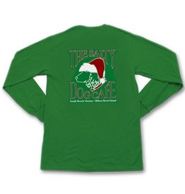 T-Shirt Green Santa Dog Adult Long Sleeve Tee