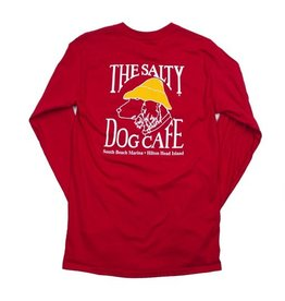 T-Shirt Hanes Beefy Long Sleeve Tee in Deep Red