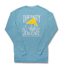 T-Shirt Long Sleeve Comfort Soft Pocket Tee in Lagoon Blue