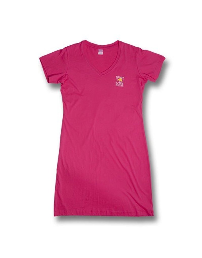 LAT Apparel V-Neck Beach Cover Up in Hot Pink