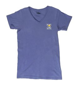 T-Shirt Women's Comfort Colors V-Neck in Flo Blue