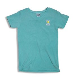 T-Shirt Women's Comfort Colors V-Neck in Lagoon Blue