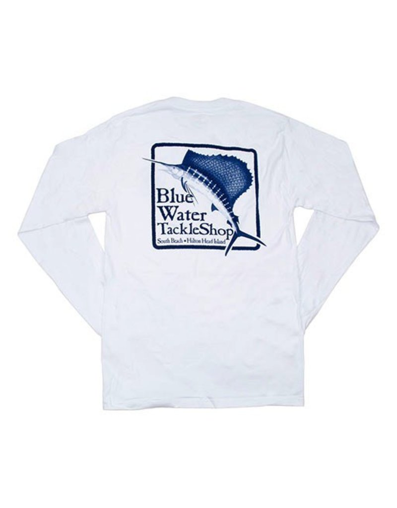 Hanes Blue Water Long Sleeve in White