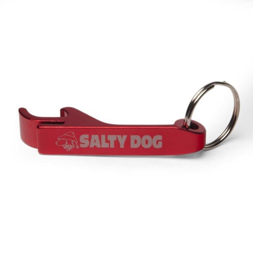 Salty Dog Aluminum Beverage Opener Key Chain in Red
