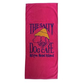 Salty Dog Beach Towel Woven in Hot Pink