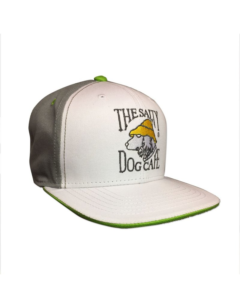 Hat Flat Brim Snap Back in White and Gray