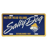 Salty Dog License Plate in Blue/Yellow