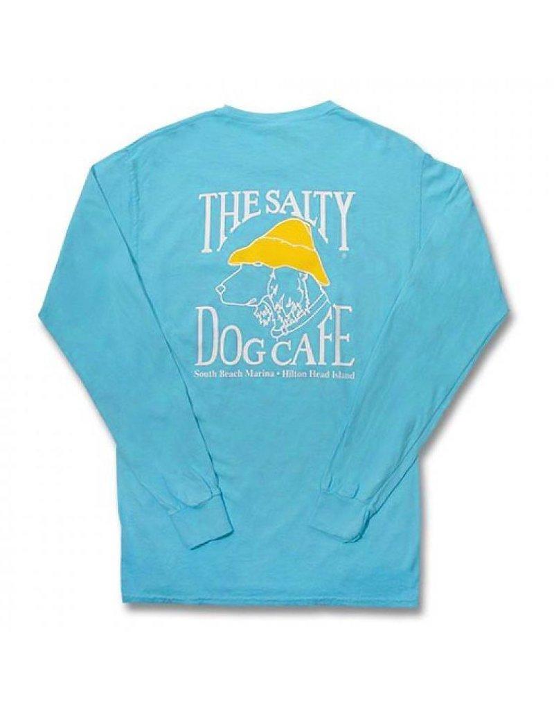 T-Shirt Comfort Colors® Long Sleeve Pocket Tee in Lagoon Blue