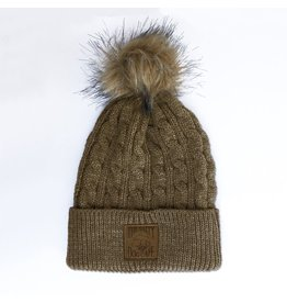 Hat Cable Knit Beanie with Pom in Hazel