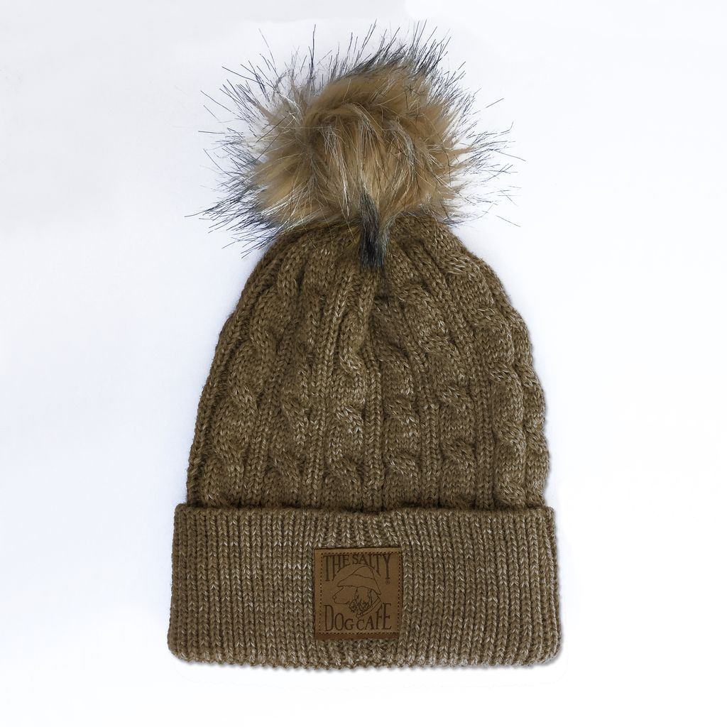 AHead Cable Knit Beanie with Pom in Hazel