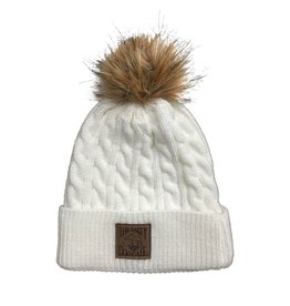 Hat Cable Knit Beanie with Pom in White