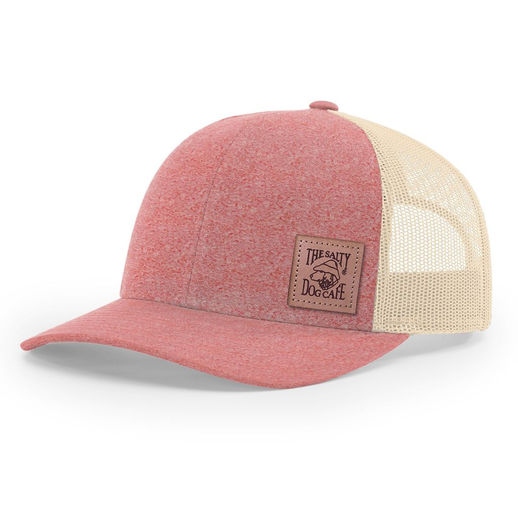 Hat Leather Patch Trucker Hat in Heather Red