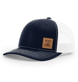 Hat Leather Patch Trucker Hat in Navy